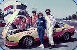 Photograph of Ger-Brock race car and Don Koski